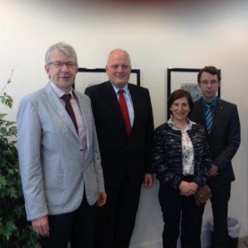 v.r.n.l.:Wolfgang Schleicher (VKL/KLB), Ulrich Kelber (PStS), Nicole Podlinski (KLB), Tobias Müller (KLJB)