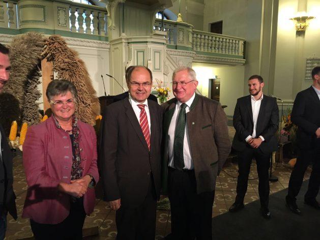 Brigitte Scherb, Präsidentin LandFrauenverband; Christian Schmidt, Bundeslandwirtschaftsminister; Korbinian Obermayer, KLB Bundesvorsitzender